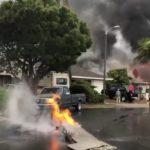 В Калифорнии самолет упал на жилой район (видео)