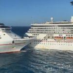 Два крупнейших круизных лайнера в мире столкнулись при подходе к берегу (видео)